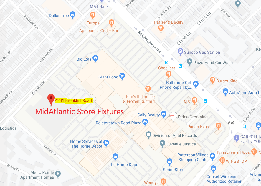 map of new location for MidAtlantic Store Fixtures